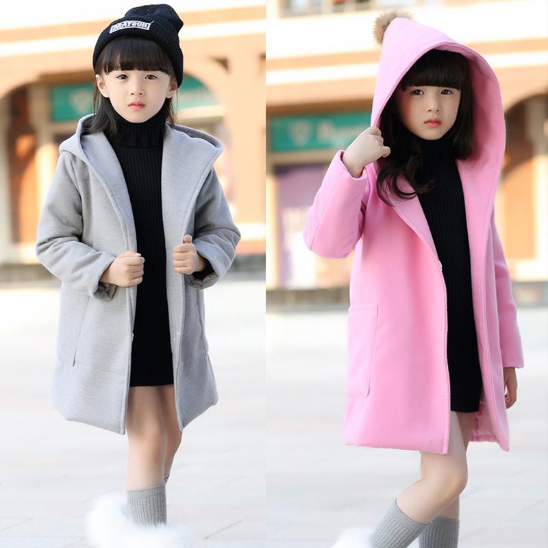 «Фирменные» девушки с капюшоном шерсти пальто шерстяной ткани большие zip вокруг кошелек в корейской версии новой весны 2016 пальто сплошной цвет
