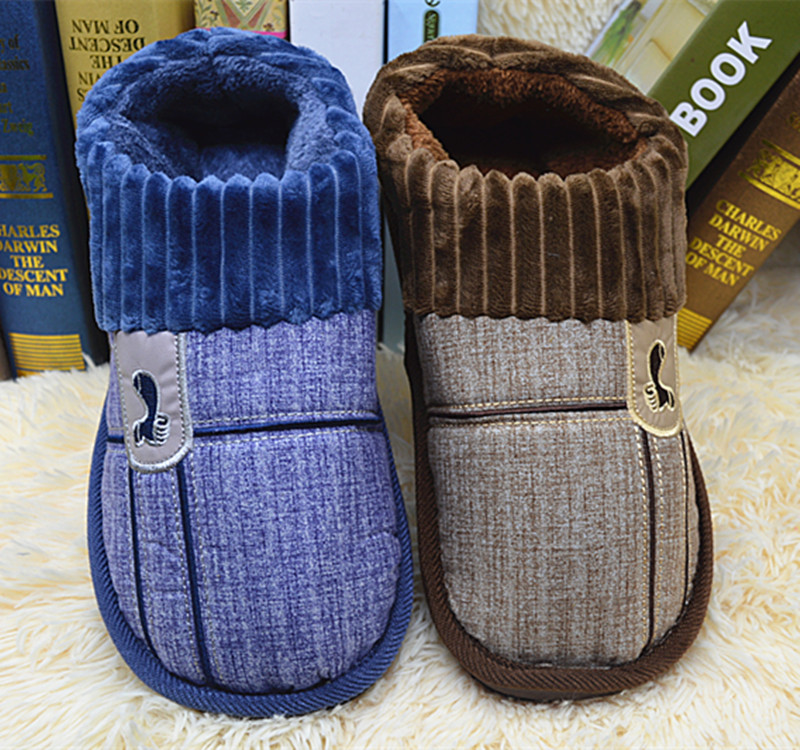 Winter mens cotton slipper bag heel extra large with heel thickening warm keeping heel household cotton shoes 45 46 47 48