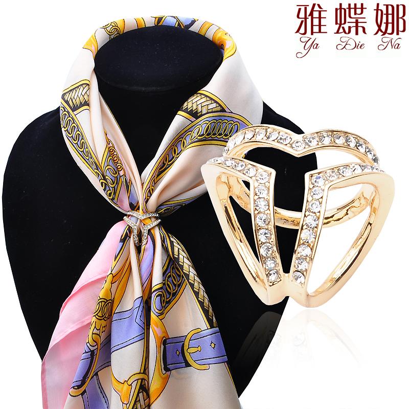 包郵雅蝶娜  絲巾配飾簡約三環絲巾扣水晶披肩扣圈方