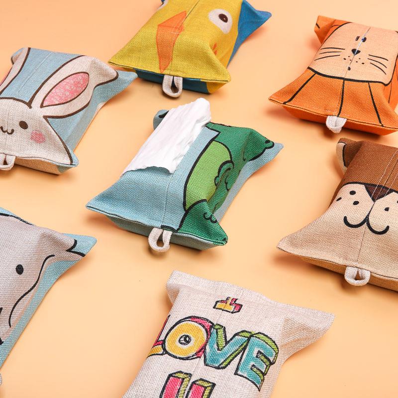 Корейский мультики льняная ткань ткань милый животное бумажные полотенца крышка бумажные полотенца пакет домой автомобиль офис комната насосные мешок