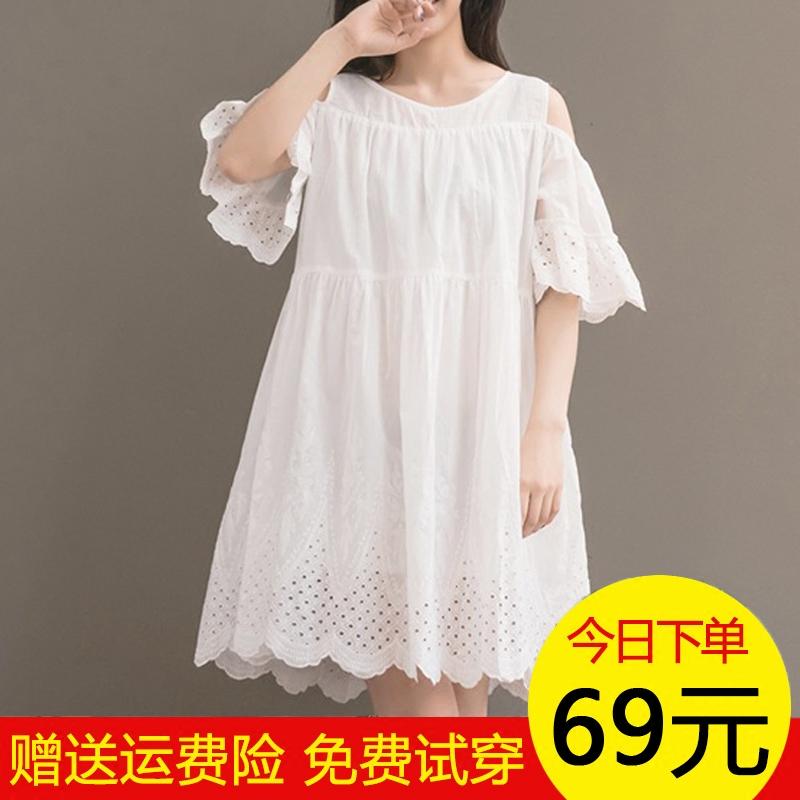 大童女装夏装宽松白色荷叶袖棉麻连衣裙胖女童加肥加大码学生裙子