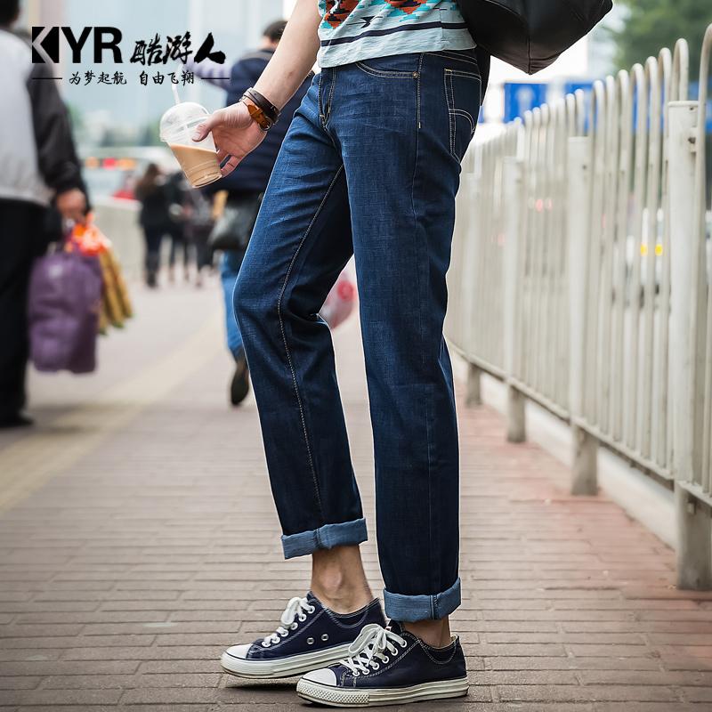 Прохладная осень/зима посетителей четырех сезонов Мужская тонкий синий Корейский прямо мужчины штаны Мужские джинсы длинные брюки Весна прилив