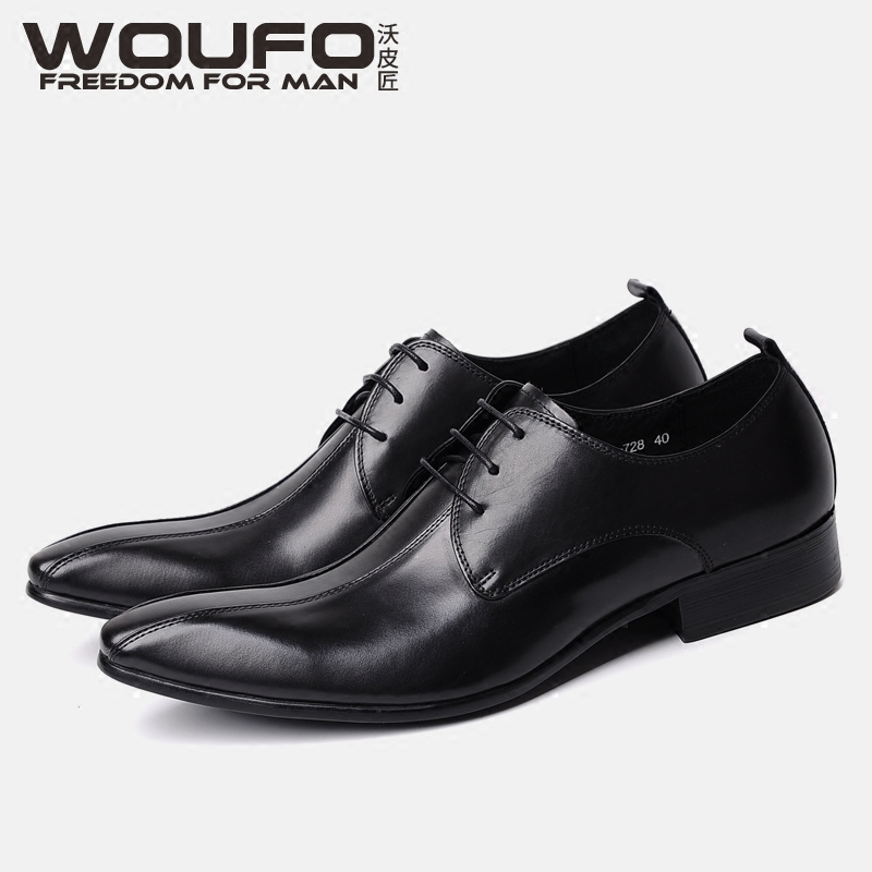Woufo British three pointed leather shoes fashion male leather fashion stylist formal leather shoes European and American lace up Derby shoes