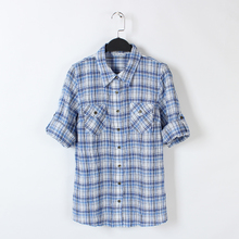 Foreign trade the original single women's new summer 2015 Europe and the United States fan fold plaid shirt 7 minutes of sleeve shirts have big yards