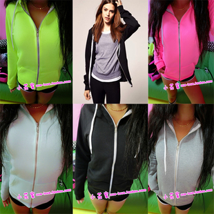 The new foreign trade of high quality European and American street casual long sleeved fluorescent color solid color zipper hoodie cardigan jacket female 711