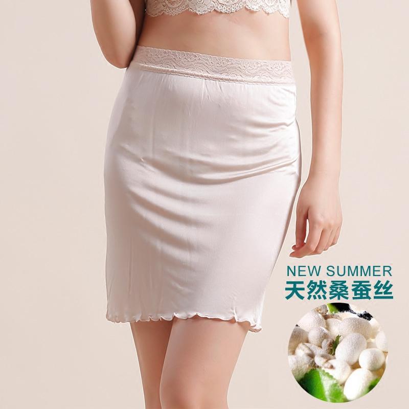 夏季桑蚕丝 女士真丝针织蕾丝花边半身裙 真丝衬裙打底裙 睡裙