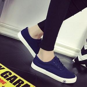女士系带休闲帆布鞋 平底低帮布鞋情侣款小白鞋 夏季舒适透气板鞋