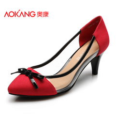 Aokangchun version of the Korean version of the sense of transparency shallow high heel women's shoes pointy shoes with bow tie trend