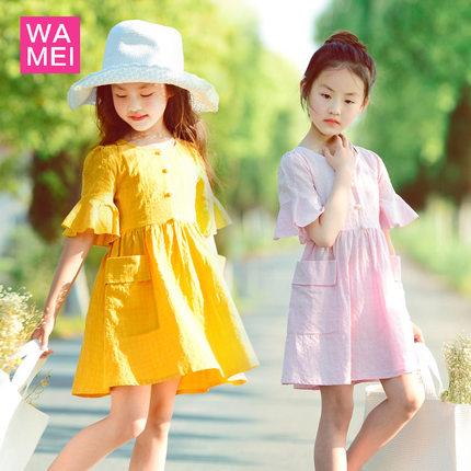 女童棉布连衣裙 公主风夏装纯色短袖裙子