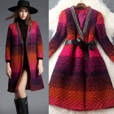 The new winter 2015 women's clothing in Europe and the sunset gradient v-neck female cotton coat diamond chain cloth coat