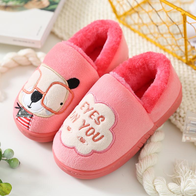 兒童棉拖鞋秋 包跟男童女童幼兒寶寶可愛防滑小孩家居室內毛毛