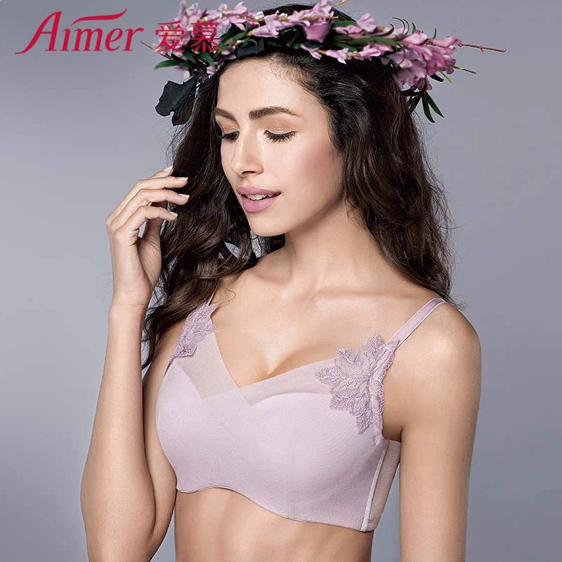 爱慕正品内衣女厚款小胸性感聚拢抹胸式文胸罩AM15JL1