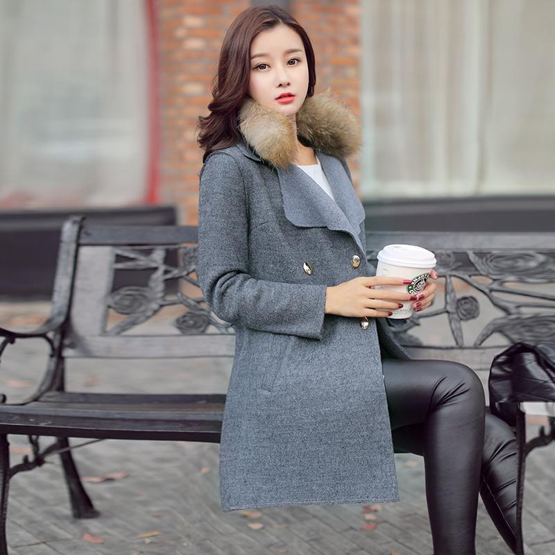 2017春秋裝 連帽毛領雙排扣修身顯瘦中長款毛呢外套女潮