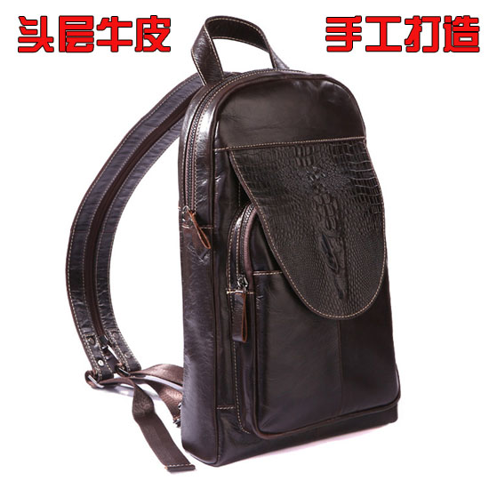 Mens leather retro large capacity 10 inch iPad backpack messenger bag sports leisure chest bag