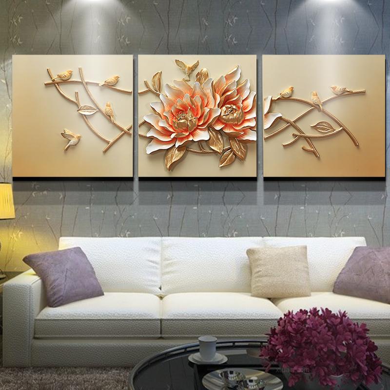 卓画现代欧式浮雕画沙发背景墙3D手绘手工制作客厅装饰画团聚