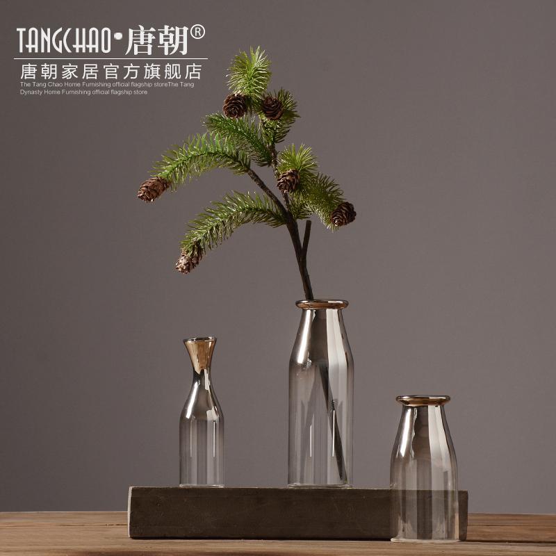 簡約透明玻璃插花小花瓶 客廳餐桌花器 家居軟裝飾品擺件