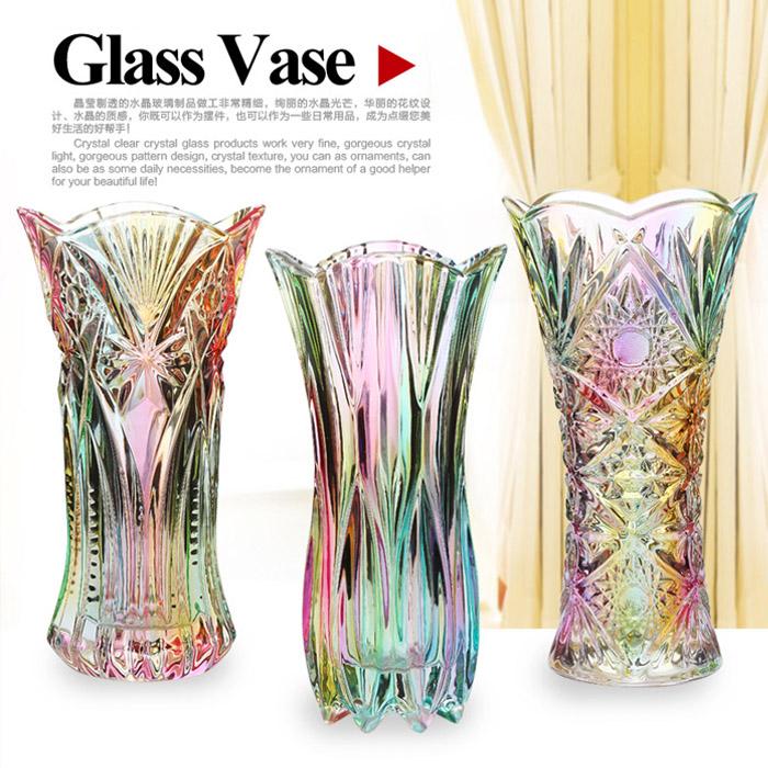22.62元包邮包邮 加厚水晶玻璃彩色花瓶富贵竹 百合现代时尚创意玻璃花瓶摆件