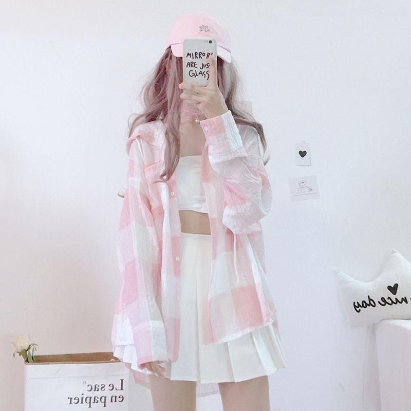2018新款夏季女装学生韩版中长款格子长袖衬衣防晒衣空调衫外套萌