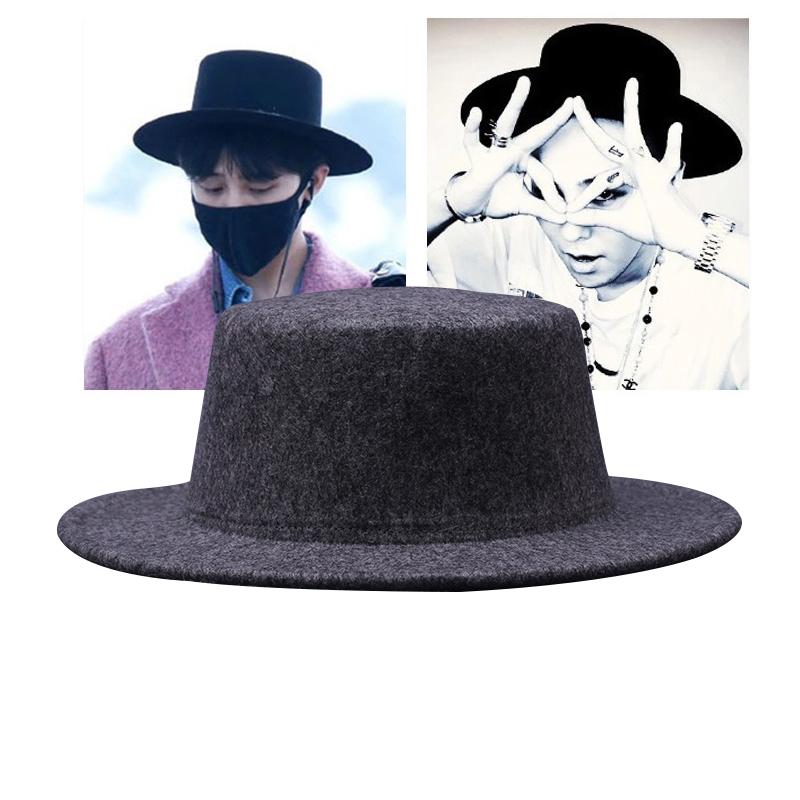 GD韓國明星同款禮帽複古紳士英倫風平頂平簷毛呢爵士帽男女帽子潮