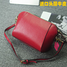 2015 the new Europe and the United States head layer cowhide worn handbag leather leisure mini shell package one shoulder inclined across a small bag