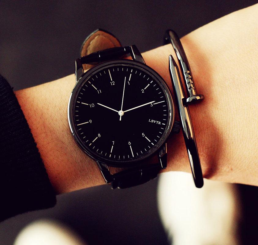手表女學生 潮流簡約 大表盤男表皮帶女表 情侶手表一對