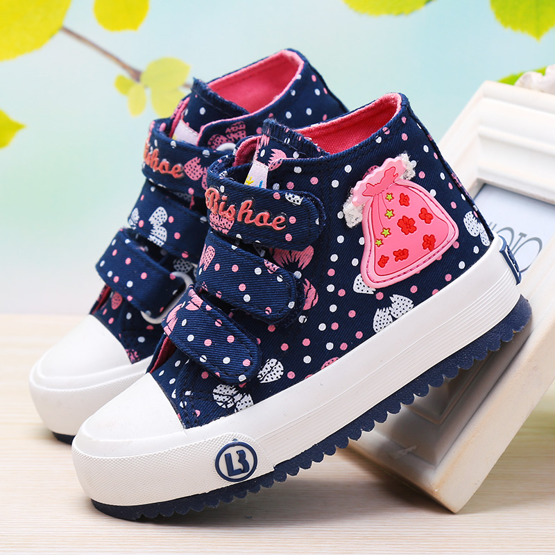 New childrens canvas shoes girls shoes high top printed childrens cloth shoes leisure shoes