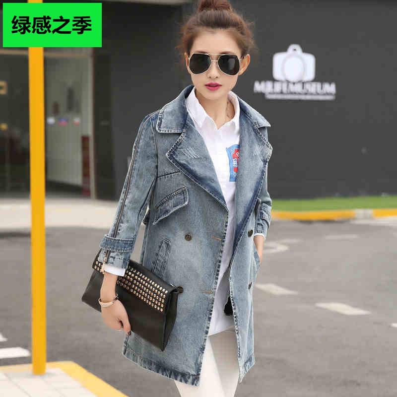 Джинсовый плащ женщин пальто 2015 Весна новых корейских женщин носить свободные ретро долго Жан куртка женская tide