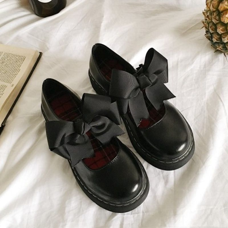 2019 soft sister Lolita lovely princess shoes girl round head student bow baby shoes single shoes