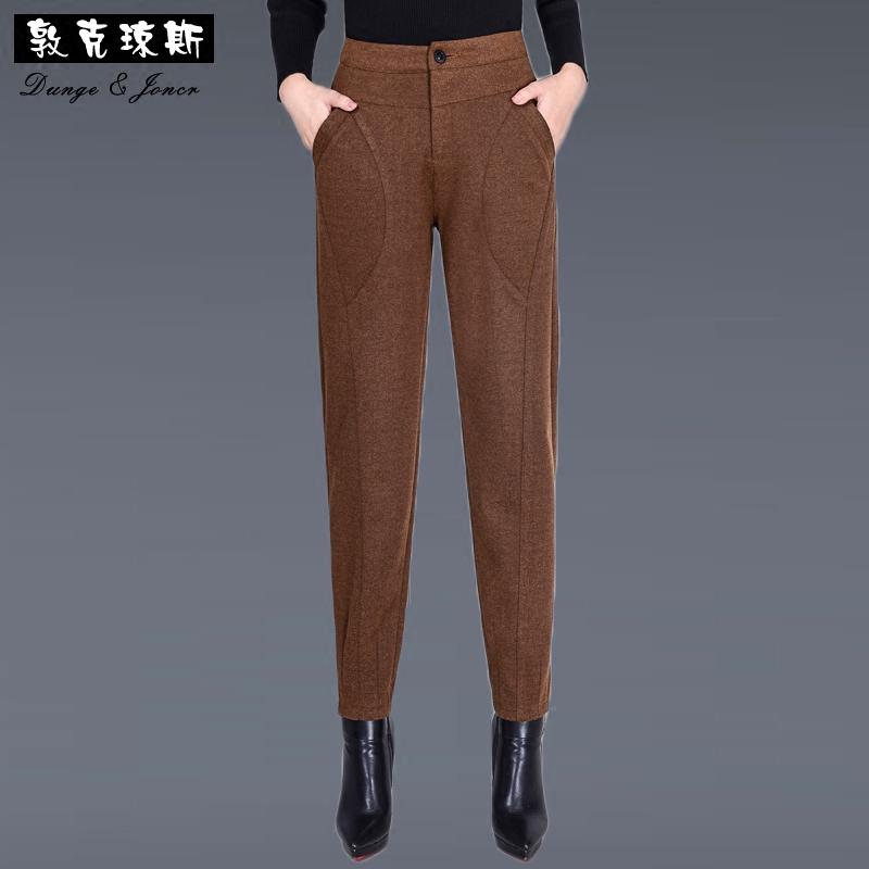 毛呢哈伦裤女秋冬款小脚裤黑色高腰裤子显瘦萝卜裤休闲长裤九分裤
