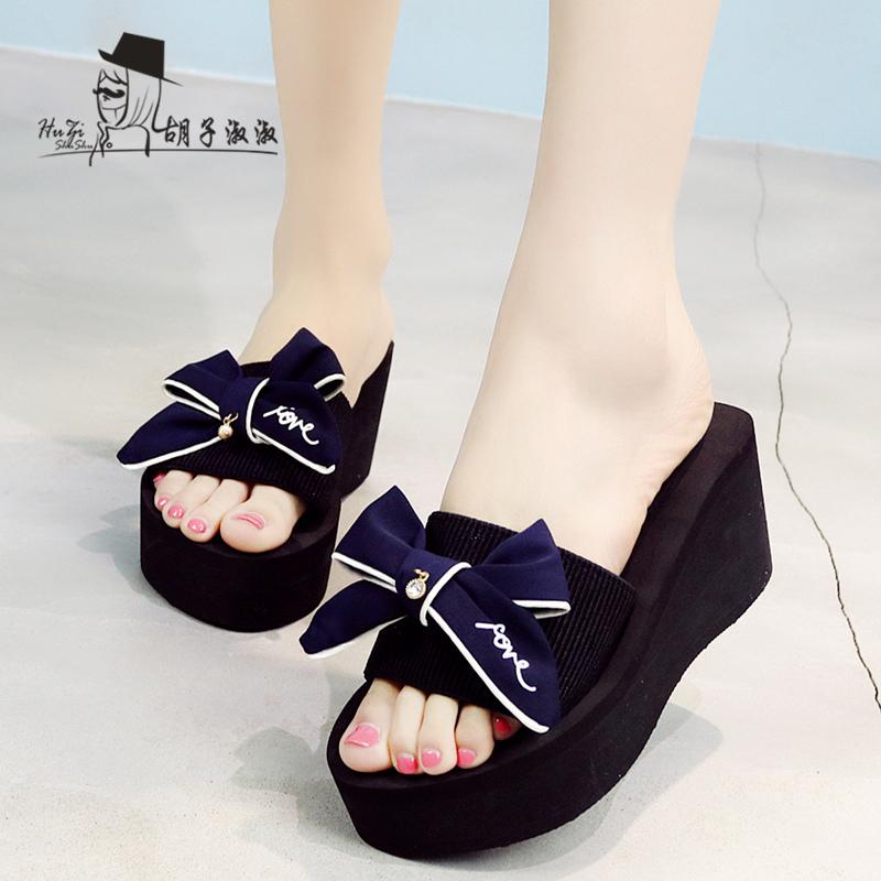 拖鞋女夏季厚底蝴蝶结一字拖韩版高跟时尚凉拖鞋坡跟外穿沙滩鞋潮
