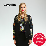 Westlink/West New 2015 winter flowers baseball led darker button Cardigan Sweater print splice female short coat