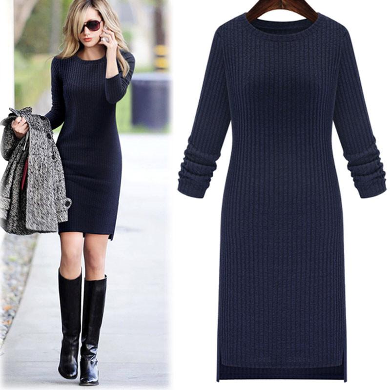 Плюс Размер Женская одежда Осень/Зима жира мм с длинным рукавом топы к концу 2016 новых жира сестра тонкие длинные платья
