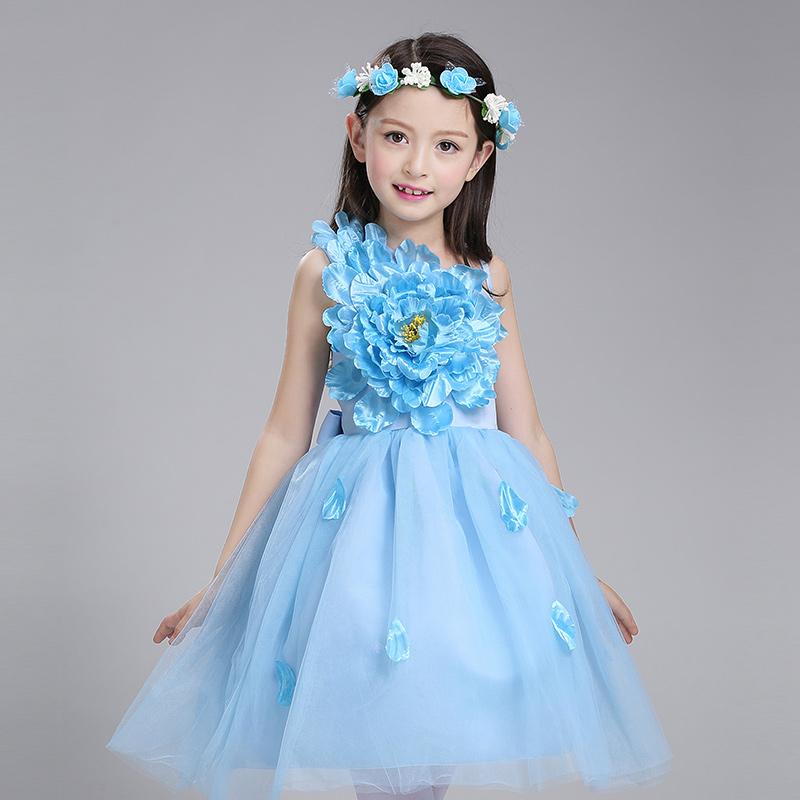 兒童演出服主持人表演服女童禮服裙公主裙 蓬蓬裙花童裙連衣裙