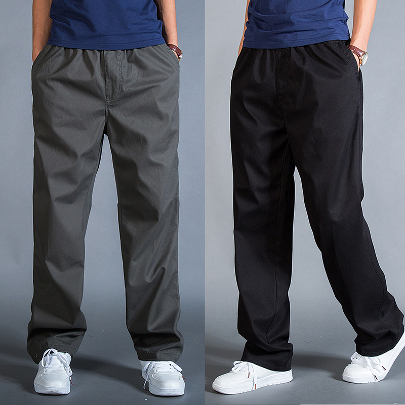 Mens fat pants mens spring and autumn plus size casual pants loose pants plus fattening overalls autumn and winter thick mens pants