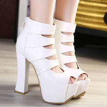 Autumn designer shoes in Europe and the coarse documentary shoes nightclub 14 cm super sexy high-heeled shoes is hollow-out waterproof fish mouth shoes