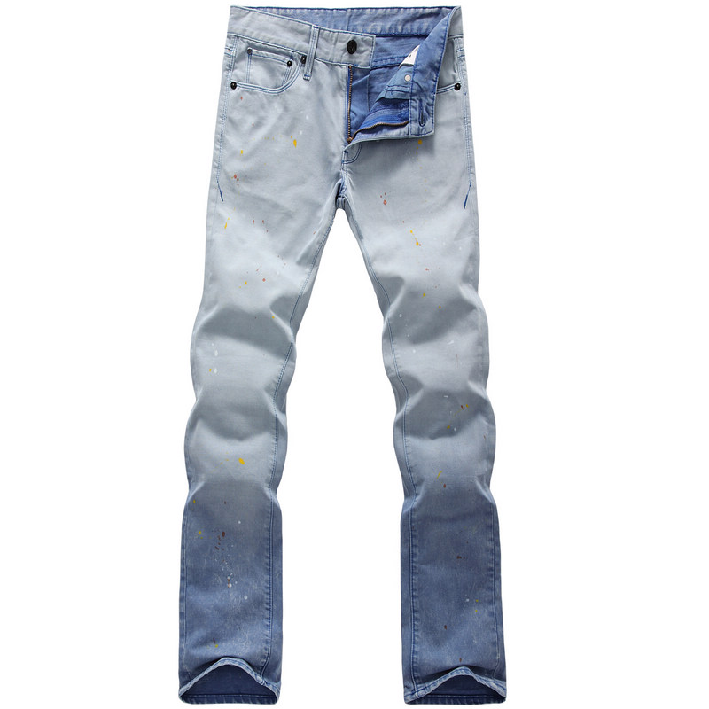 Foreign trade mens jeans 2020 spring and autumn wear spray painting mens tight straight jeans pants