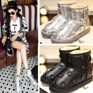 Puqi 2015 winter snow boots Orange personality rivet short tube with flat cotton slip the snow thickened women shoes