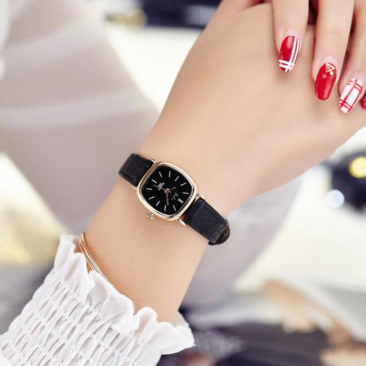 潮流 複古女士手表簡約 皮帶橢圓女中學生表時裝石英表