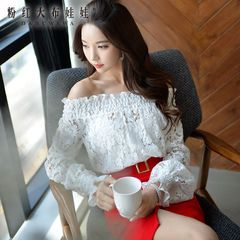 Shirts girls big pink doll 2015 autumn new temperament Lotus lace strapless neck long sleeve shirt