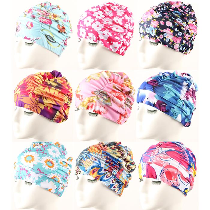 Мода набивные ткани плиссированные комфорт плавание Cap увеличить не длинные волосы Комбинезоны женские шапочки для плавания 3130