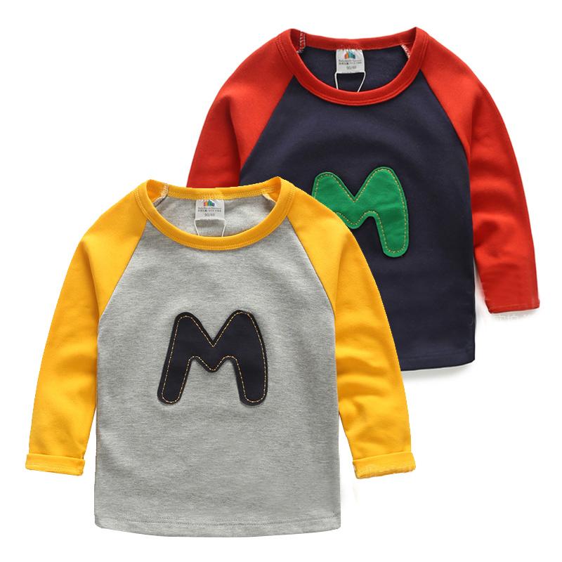 2016 осенью новой Европы Ветер письмо мальчик детей в одежда младенца детей длинный рукав футболки в конце TX-4771