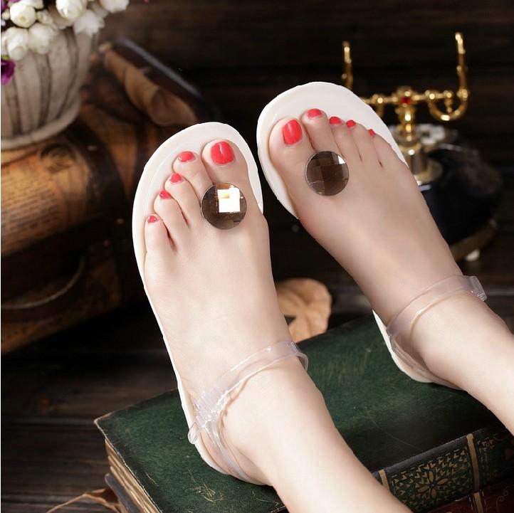 韩国风 茶色玻璃圆钻水晶鞋平底凉鞋休闲淑女果冻鞋女凉拖塑胶鞋