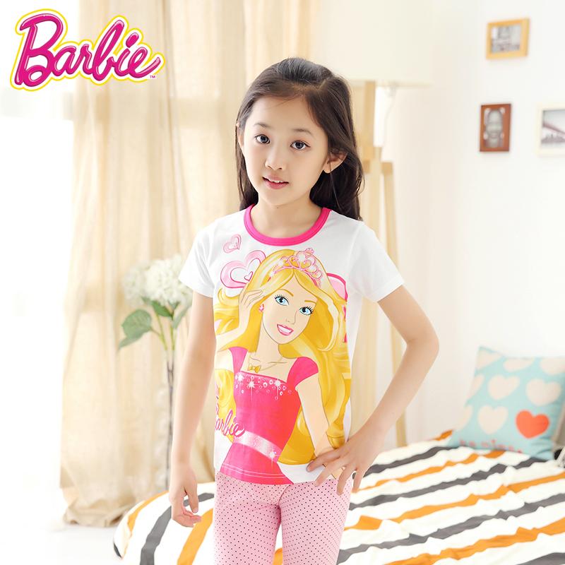 女童T恤芭比 春 中大童卡通 上衣寶寶打底衫圓領 純棉短袖