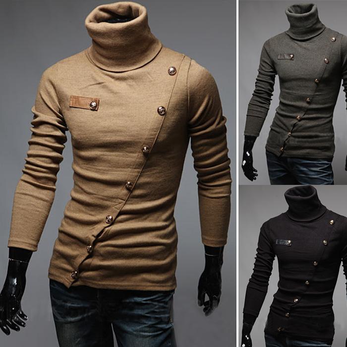 Осень 2015 новый с длинным рукавом мужская косой отворотом кнопки мигает корейских мужчин тонкий высокий воротник рубашки ПОЛО черный