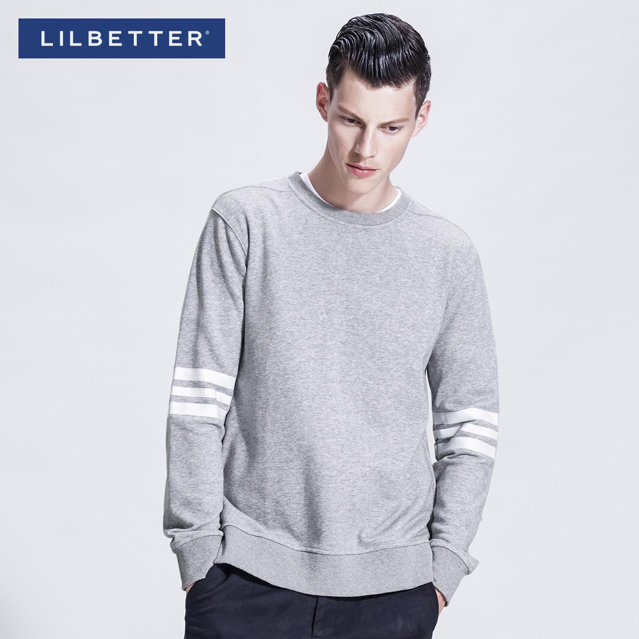 lilbetter衛衣套頭男 條紋圓領春裝款外衣潮牌混搭修身型男士外褂
