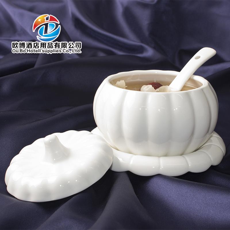 陶瓷炖盅南瓜盅 创意纯白色甜品盅隔水炖补品汤盅 带盖燕窝盅套装