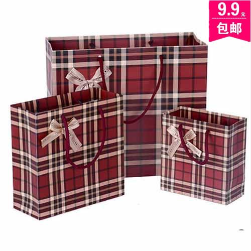 商务经典深红色底 咖啡色格子纹礼品袋 手提袋 礼物袋 纸袋回礼袋