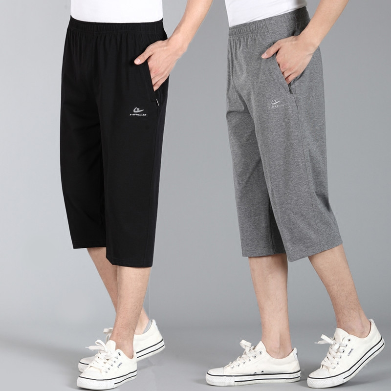 Summer sports casual pants for middle-aged and elderly mens pants elastic waist cotton Capris high waist large knee shorts