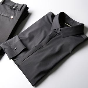丝滑高端压胶男衬衫秋新款男装时尚修身弹力免烫男士长袖衬衣男