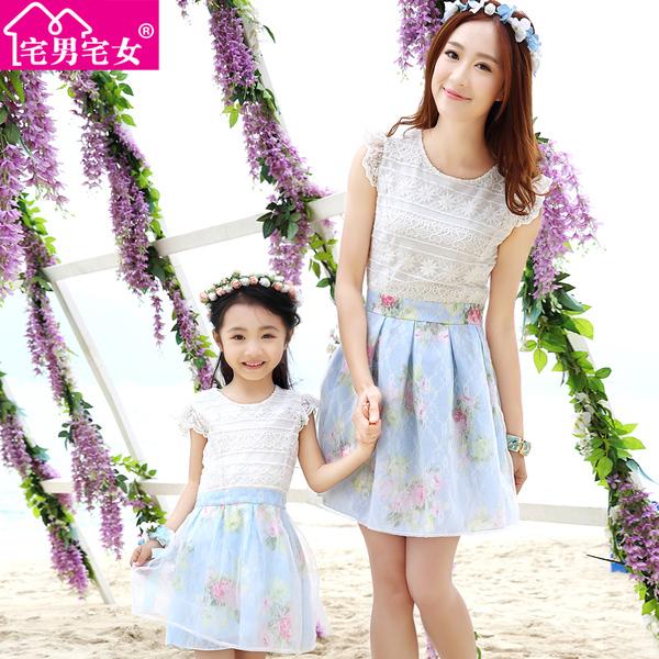 亲子装夏装新款夏季短袖韩版裙子大码母子母女装连衣裙沙滩装